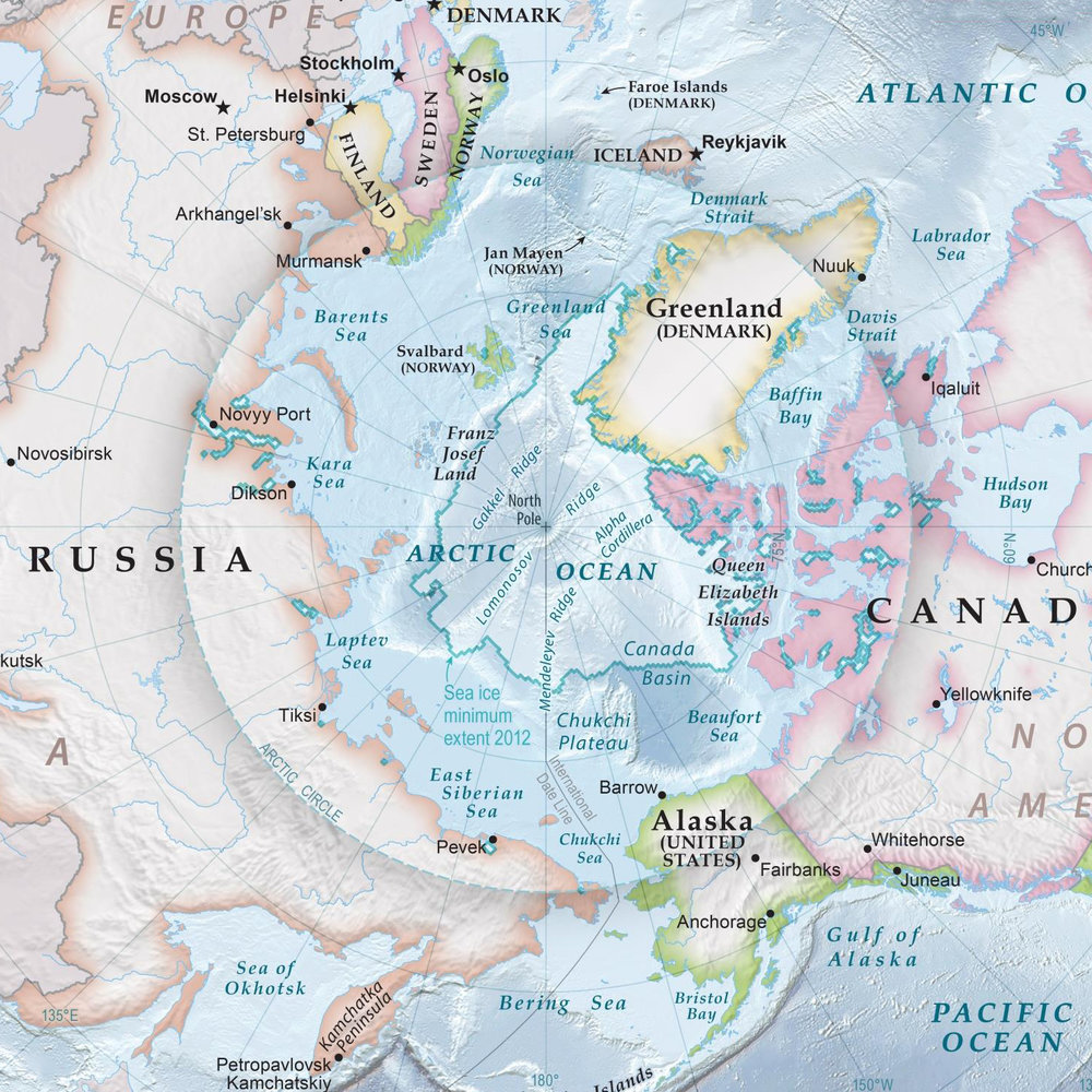 Current national borders at the Arctic