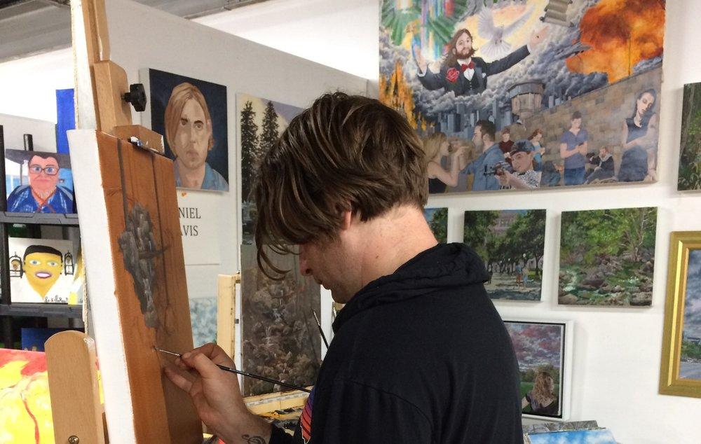 Daniel Davis at work in the studio