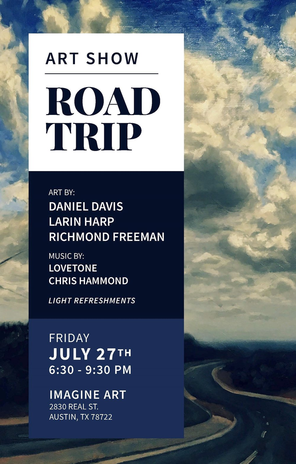 ART SHOW - ROAD TRIP sets off to capture and celebrate three different artists from our Imagine Art community, Larin Harp, Daniel Davis, and Richmond Freeman. Charismatic cars and trucks in clay by prolific artist Larin Harp set the pace for adventure, calling us to throw caution to the wind, and hit the open road. We travel from the congestion of urban dwelling and tall buildings in Daniel Davis' sophisticated city scapes into breathable vistas of nature – think: babbling brooks, cypress trees, open prairies, and hill country havens, offering pause, reflection, and respite. And what road trip wouldn't be complete with a photo or two to document the sweet expanse of a sunset or a moment in time, and in ourselves, where all seemed right, possibility abounding? Luckily Richmond Freeman provides us with cameras of clay to click that magic moment, a tangible token of our freedom combined with the spirit of the open road.We hope you enjoy this exhibit and take your own trip ... whether down the highway or simply within yourself.