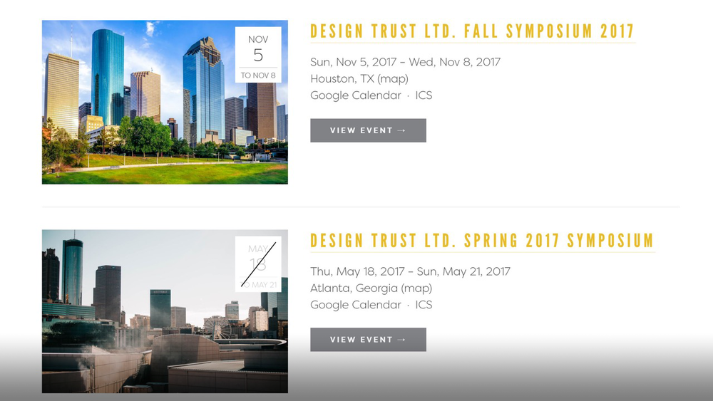 The new symposium page allows potential sponsors and members to view both upcoming and past symposiums. A summary of what was presented at past symposiums is accessed through click-throughs.