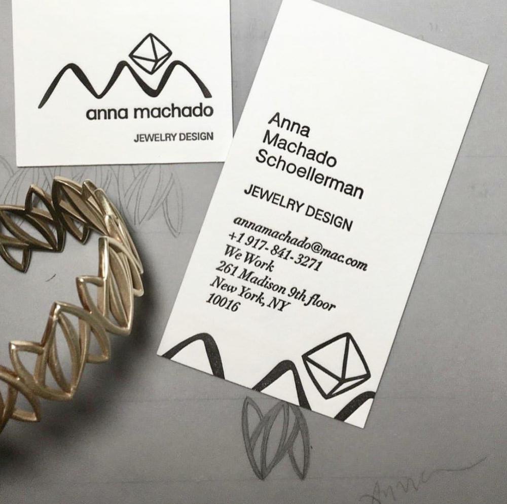 Anna Machado Jewelrey Letterpress Business Cards