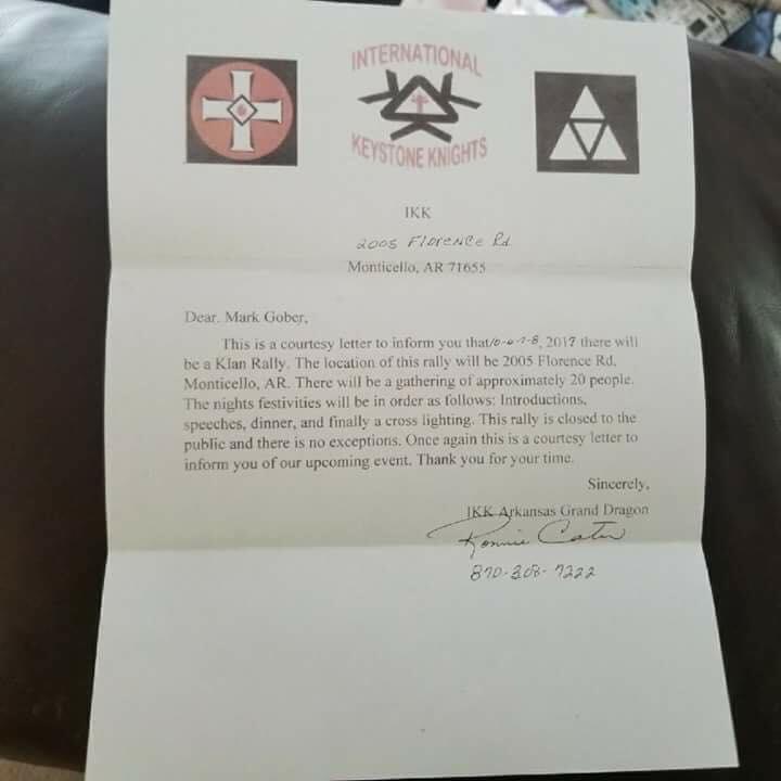Letter sent to Drew County Sheriff from KKK Leader.