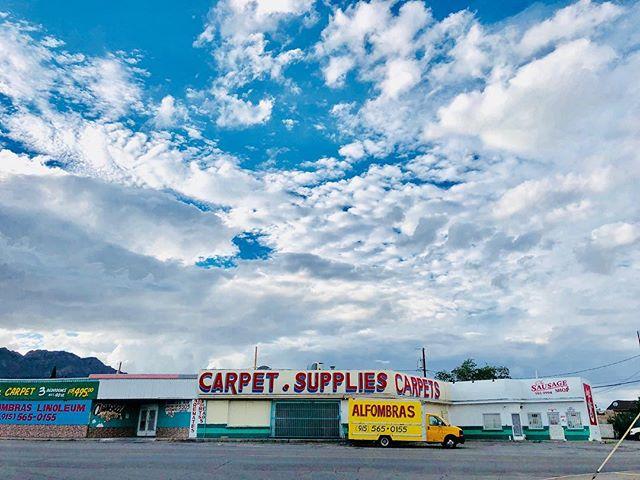 LINOLEUM. CARPET. sausage. . #elpaso #eastsideelpaso #elpasomurals #muralsofelpaso #mural #handpainted #graphicdesign #handlettering #graphic #vintagesignage #handpaintedsigns #elpasotx #elpasoproud #elpasoartists #dusk #elpasoskies #elpasosky #texassky #texasskies #clouds