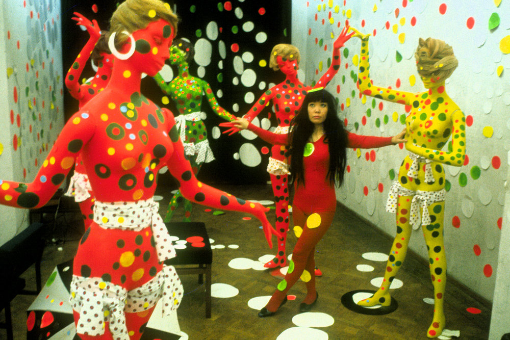 Artist Yayoi Kusamain the Orez Galleryin the Hague, Netherlands(1965) in Kusama-Infinity, directed by Heather Lenz. Photo credit: Harrie Verstappen.Courtesy of Magnolia Pictures.