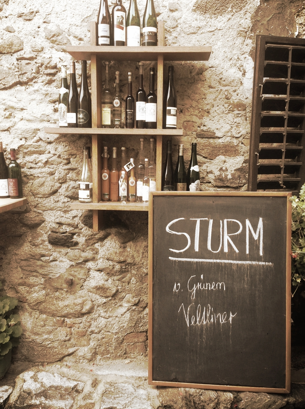 'Sturm' translates to storm in Deutsch (it's also our name!). It is the cloudy, freshly fermenting wine served during harvest in Austria. Dürnstein, Austria.