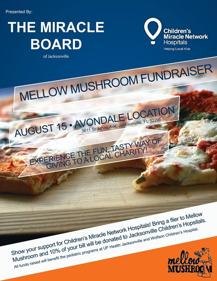 Mellow Mushroom Cause & Check - Tuesday, August 15 5:30 - 9:00 p.m.Avondale Location3611 St. Johns Ave, Jacksonville, FL 32205