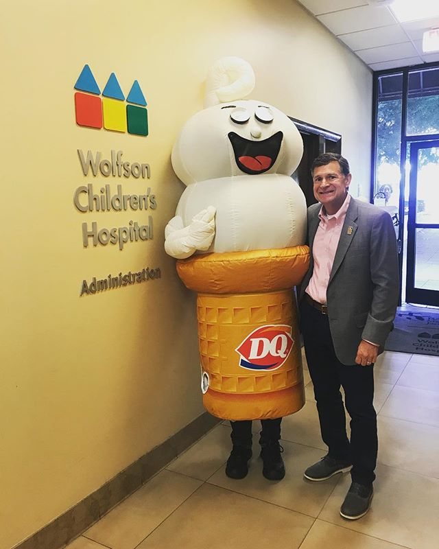 Happy #MiracleTreatDay 🍦 @wolfsonchildren President, Mr. Aubin is ready to celebrate with his Blizzard today! Be sure to pick yours up at any participating location to support our local CMN Hospitals - Wolfson Children's Hospital and UF Health Jacksonville. @cmnhospitals @dairyqueen