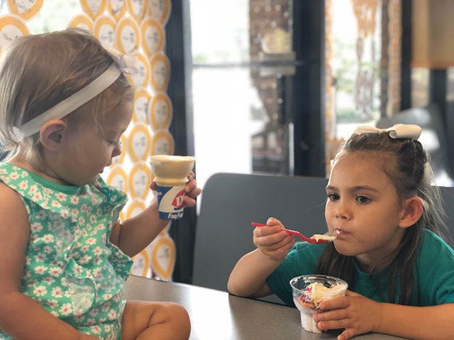 Miracle child, Celeste and her baby sister love celebrating #MiracleTreatDay at the Kingsley Ave store in Orange Park! Celeste and her family have been visiting this @dairyqueen for years and the staff looks forward to seeing her every year! @cmnhospitals