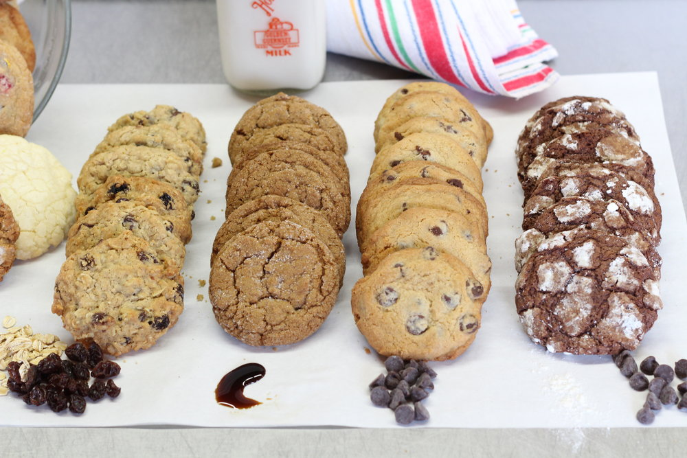 L-R: Oatmeal Raisin, Molasses, Chocolate Chip, & Chocolate Krinkle