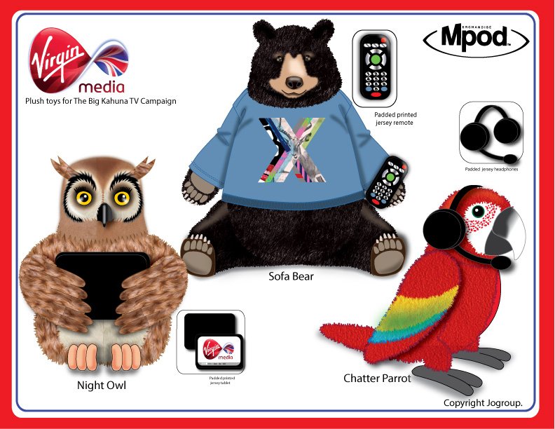 Plush Toys For Virgin media TV Campaign