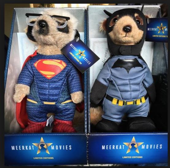 Batman and Superman Meerkat Toys for Comparethemarket