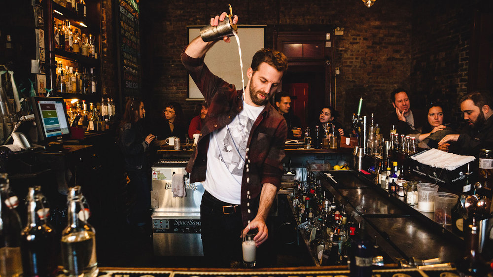 Mark Schettler of Bar Tonique in New Orleans makes a Ramos Gin Fizz. Photo by Claire Bangser for Punch Drink