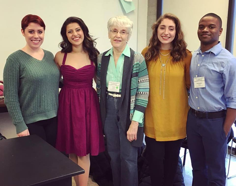 (Left to right) Meredith Hollan, Hannah Fernandes, Linda Starkey, Madi White and Deiondre Teagle: Wichita State University Irene Ryan Semifinalists with their amazing teacher and accompanist, Linda Starkey.