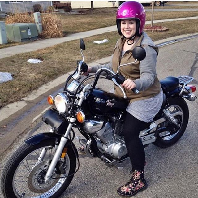 Flashback Friday! @hayleyelizabeth on her first and most recent motorbike. Share your bike journey with us!