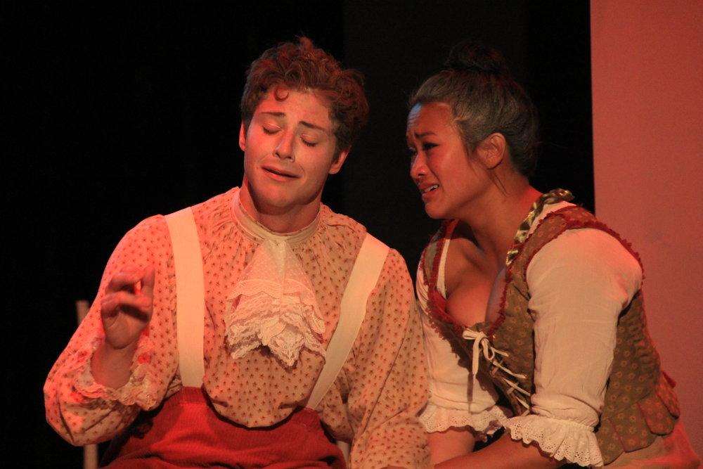 Nathan Cooper (Mozart) and Kimi Hugli (Constanze) i n Amadeus