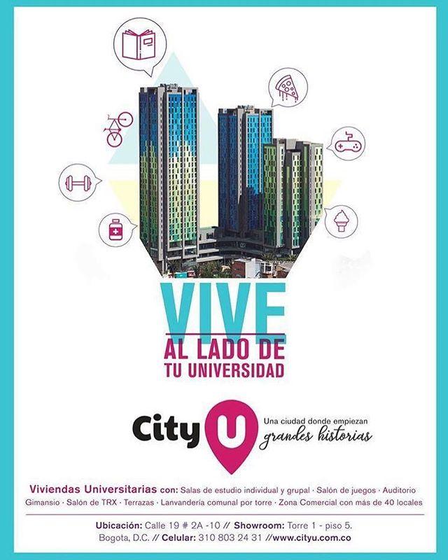 CityU es el primer proyecto de vivienda universitaria en Bogotá, compuesto de tres torres con capacidad para cerca de 1.713 estudiantes. Aquí encontrarás todos los servicios para vivir conectado y concentrado en tus estudios. ¡Reserva ya tu habitación!  Más información en http://www.cityu.com.co/