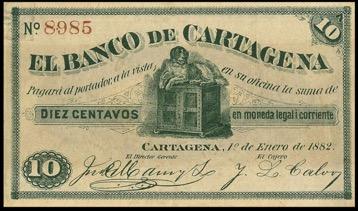 Billete diez centavos del Banco de Cartagena durante la época de Banca Libre. Fuente: Meisel, A. 2015. Antecedentes del Banco de la República, 1904-1922.