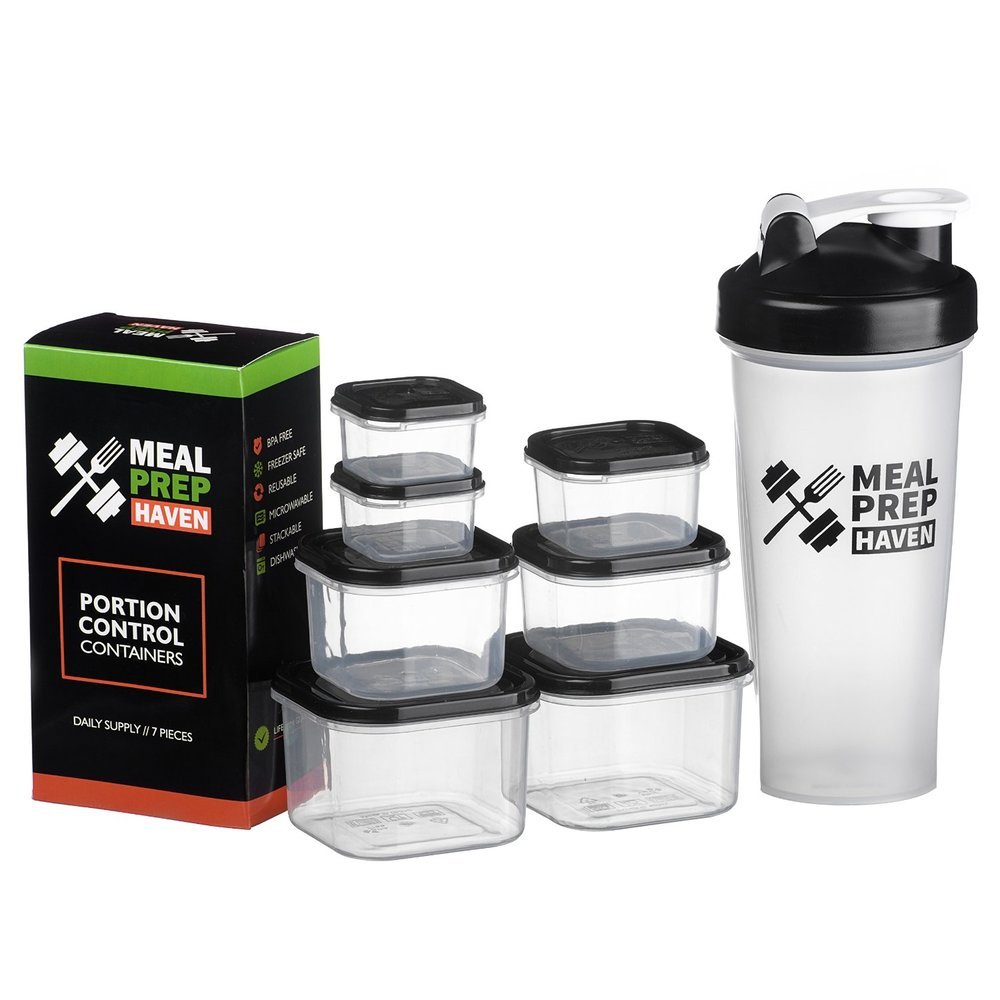 Meal Prep Haven 7 Piece Portion Control Container Kit with Guide and