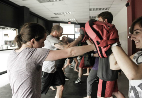 Mitt Fitness - (Open to all levels!) Mitt-Fitness will focus on getting great at proven fighting combos and skills using mitts and Muay Thai pads, with brief intervals of core strengthening and fitness work. You can always modify your training experience to the level you like! Bag gloves of 12-16 oz, or MMA gloves are required and shin guards recommended. Gear is available at Evolve.