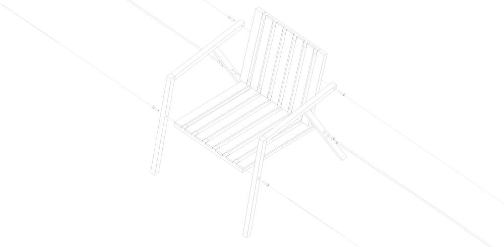 S1   Madera maciza de guatambú. Estructura abulonada ensamblable.  Dimensiones: - 800 x 600 x 500  Terminación: lustre de cera natural