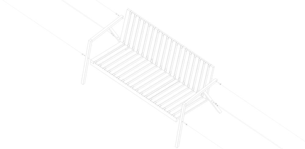 S2   Madera maciza de guatambú. Estructura abulonada ensamblable.  Dimensiones: - 1400 x 600 x 500  Valor $8320.- + I.V.A.   Terminación: lustre de cera natural