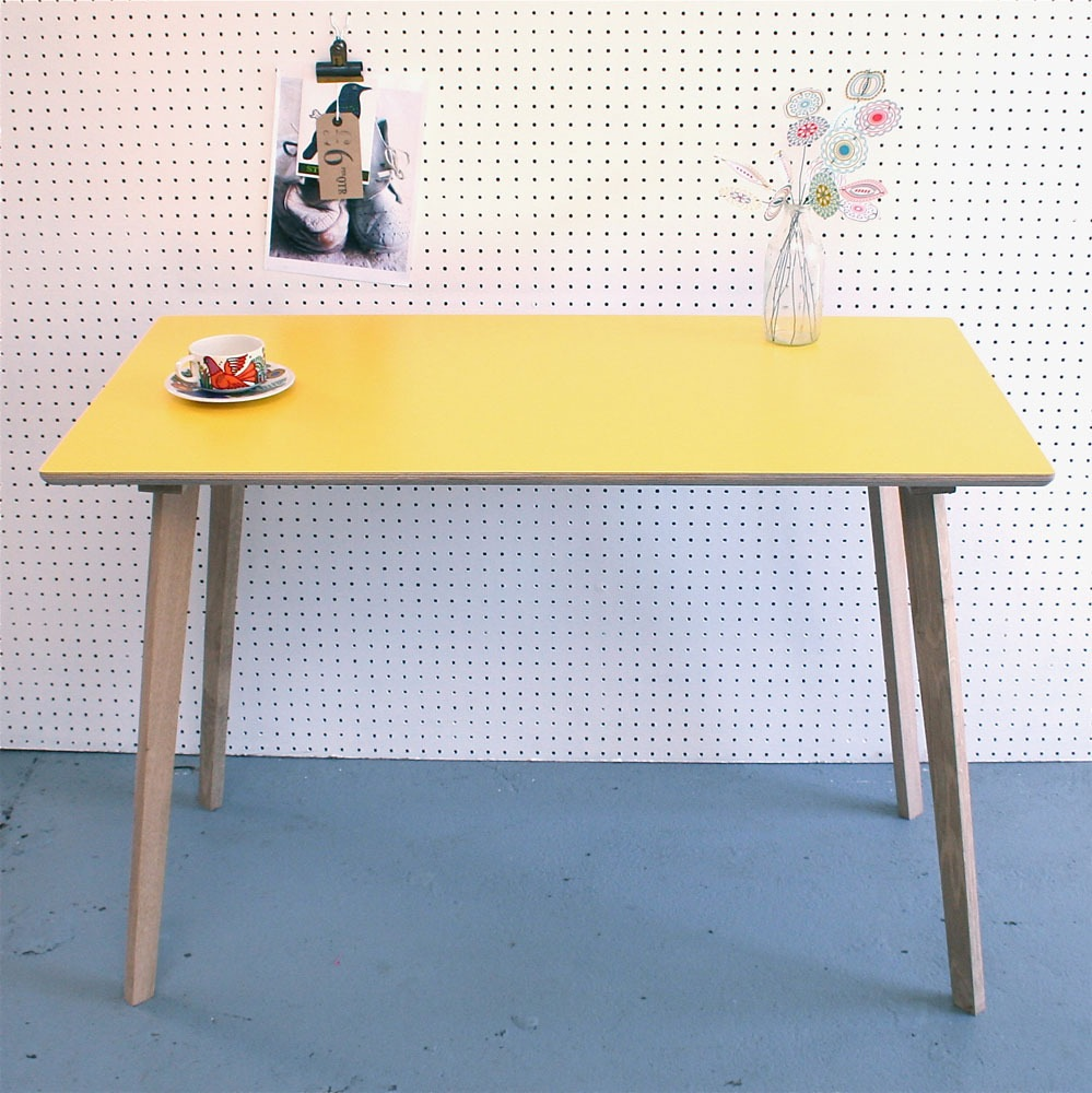 Great Perky Formica U0026 Plywood Table / Desk In Yellow