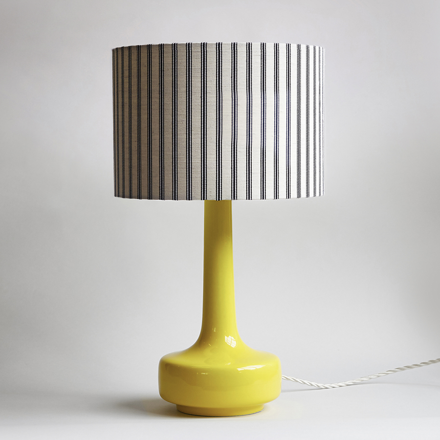 Great Bell Bottom Yellow Table Lamp With Ticking Shade