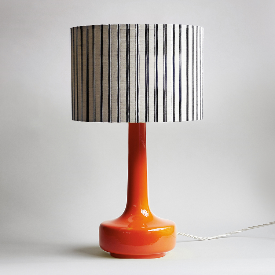 Merveilleux Bell Bottom Orange Table Lamp With Ticking Shade