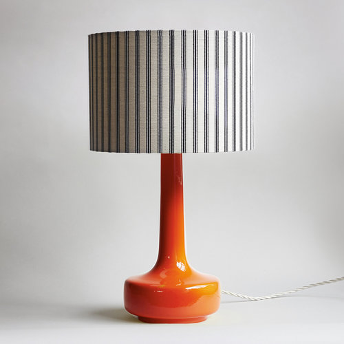 Winters moon vintage midcentury modern furniture chichester bell bottom orange table lamp with ticking shade orange midcentury mozeypictures Choice Image