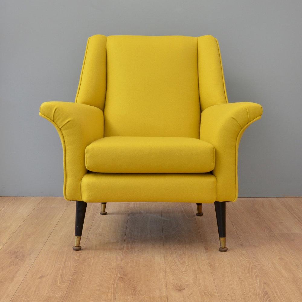 Vintage Midcentury Armchair In Yellow Wool