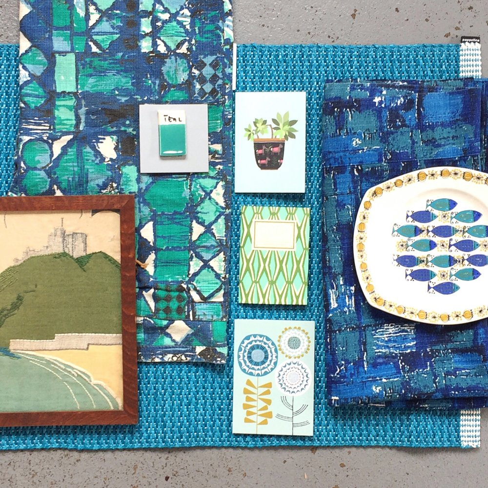 teal blue pattern vintage retro scandi moodboard