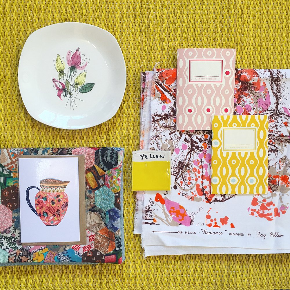 yellow vintage pattern heals textiles moodboard