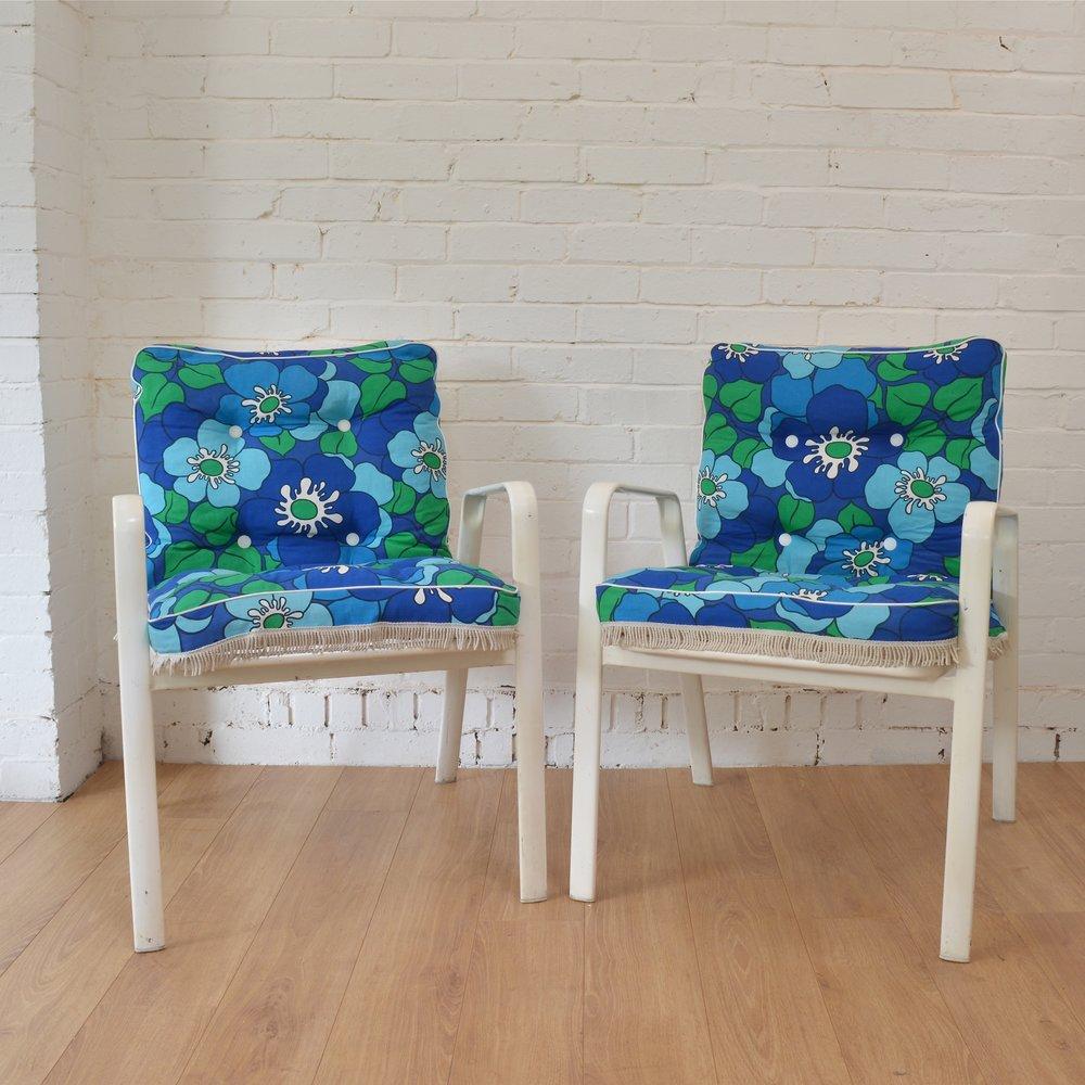 vintage danish floral garden chairs