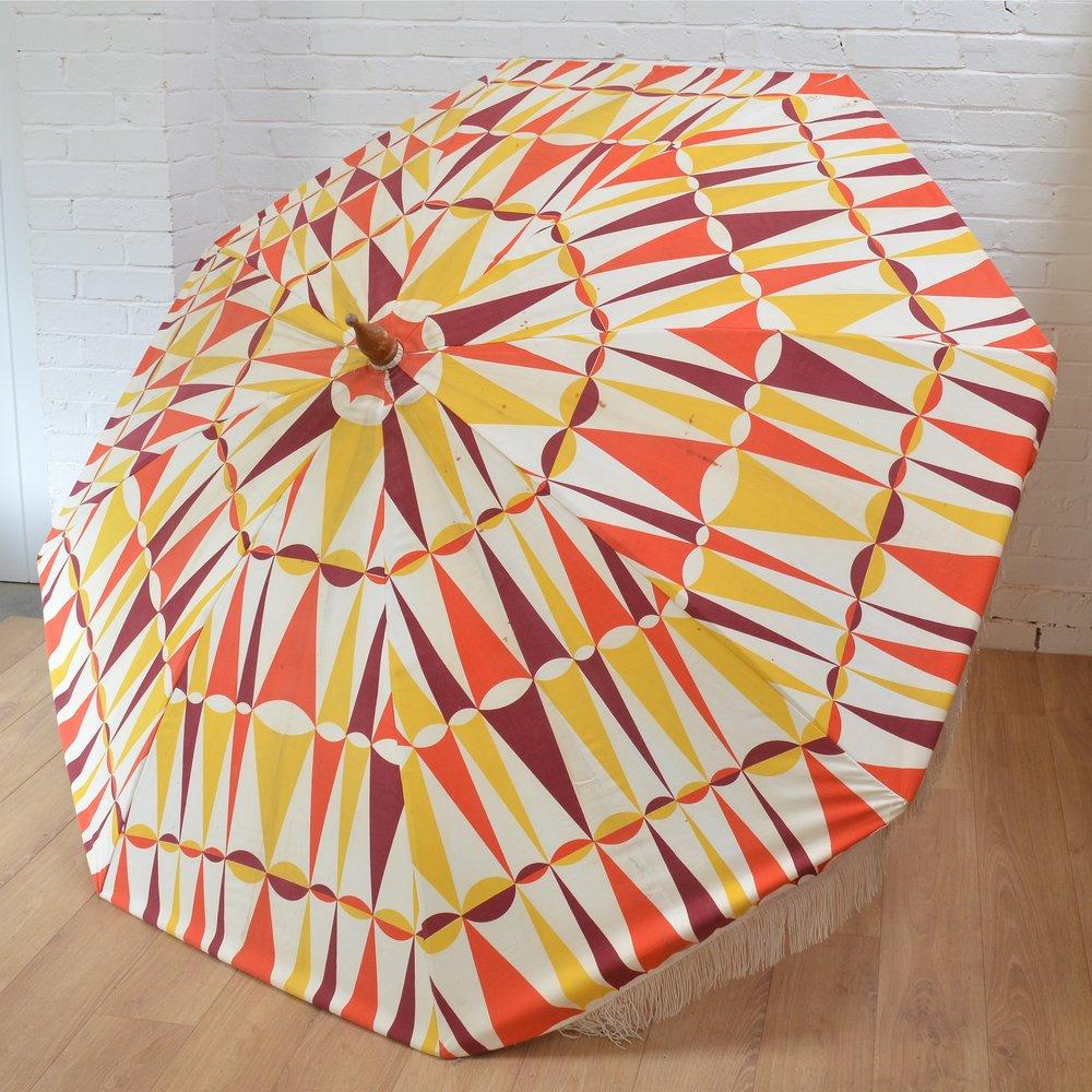 vintage geometric patterned garden parasol.jpg