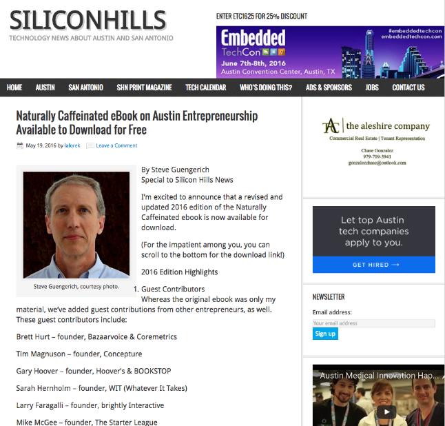 SteveG Silicon Hills Guest Post