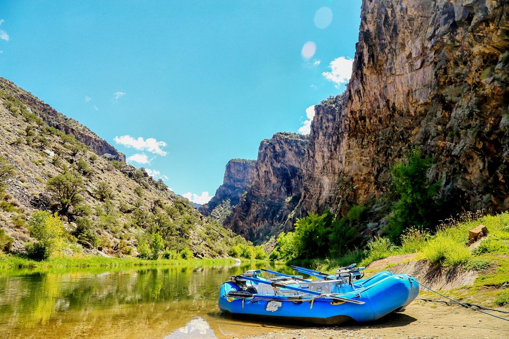 A 3 mile hike down a steep canyon trail leads to this view. Boats at the ready, this year we decided to row and line the boats up stream into Black Canyon of the Gunnison National Park.