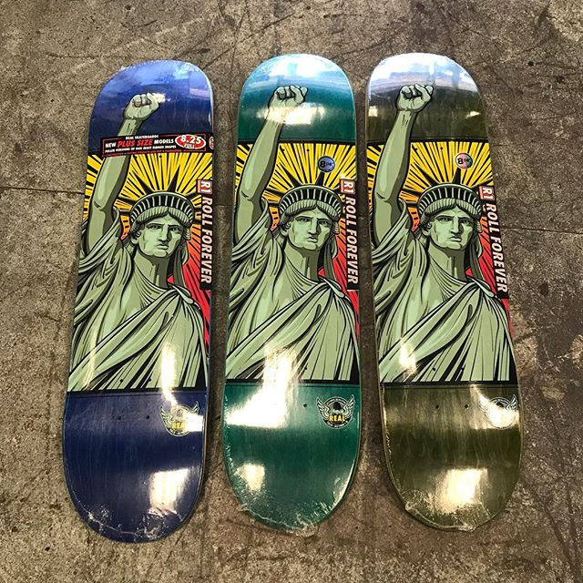 @realskateboards united we stand decks in today. United States of America is not a government it is the PEOPLE. Unite and Stand!