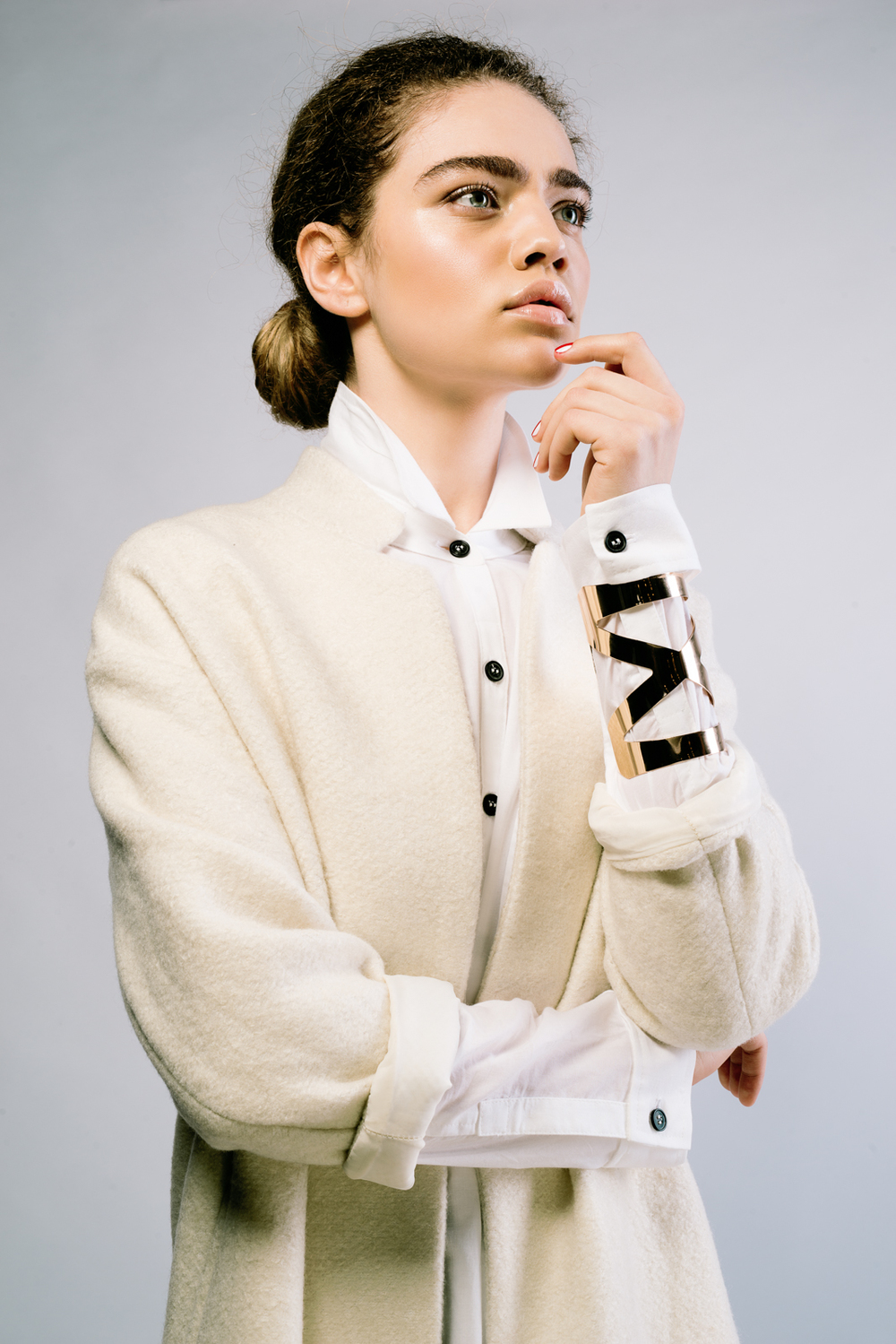 On model: Sir & Madame Woven Shirt in white, vintage coat and bracelet.