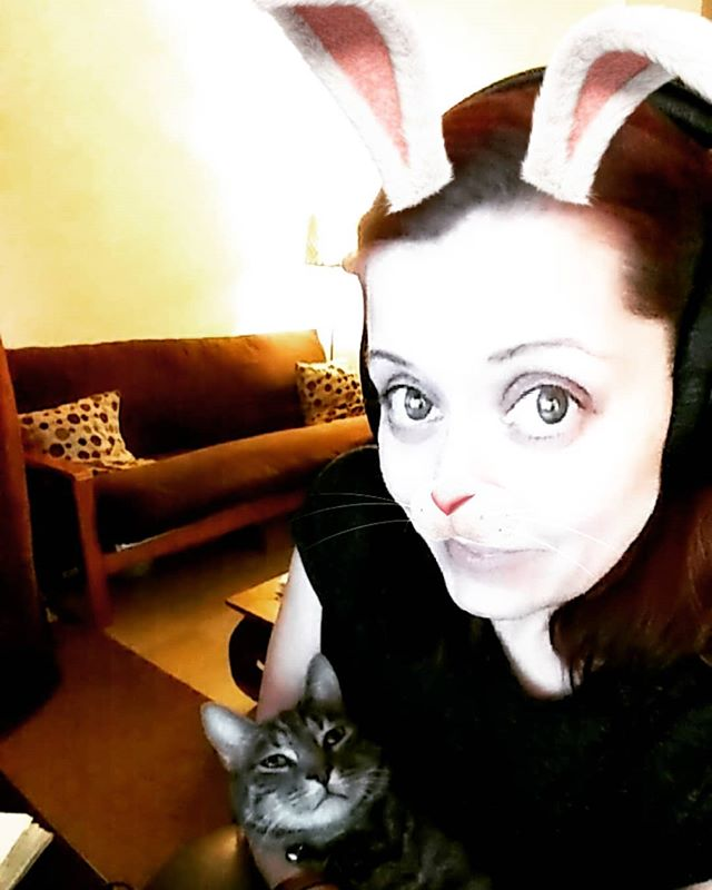 The Bunny & The Baby! Clearly Maui & I differ on our plans for today. 💗😂 www.realevoices.com * * * #mondaymood #Monday #goals #plans #todolist #smallbusiness #catsofinstagram #studiocats #studiolife #voice #femalevo #vo #actorslife #actorsworld #recording #recordingartist #headphones #sennheiser #littlebuddy #entertainment #entrepreneur #commercial #explainervideos #motiongraphics #elearning #dubbing #bunny #fun #grey