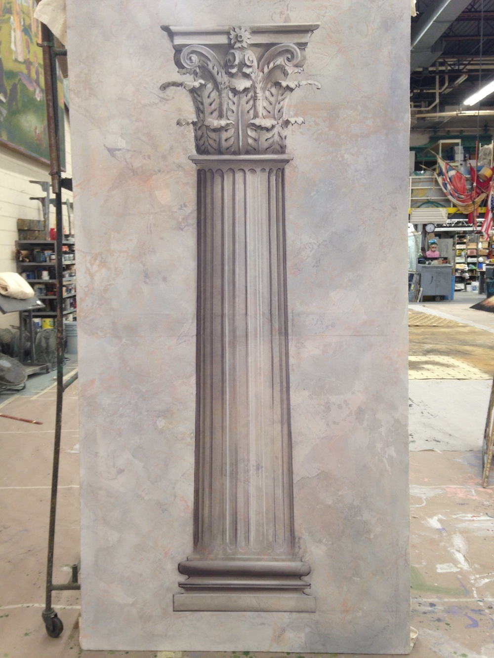 Corinthian column--drawn out, pounced, transferred, and painted