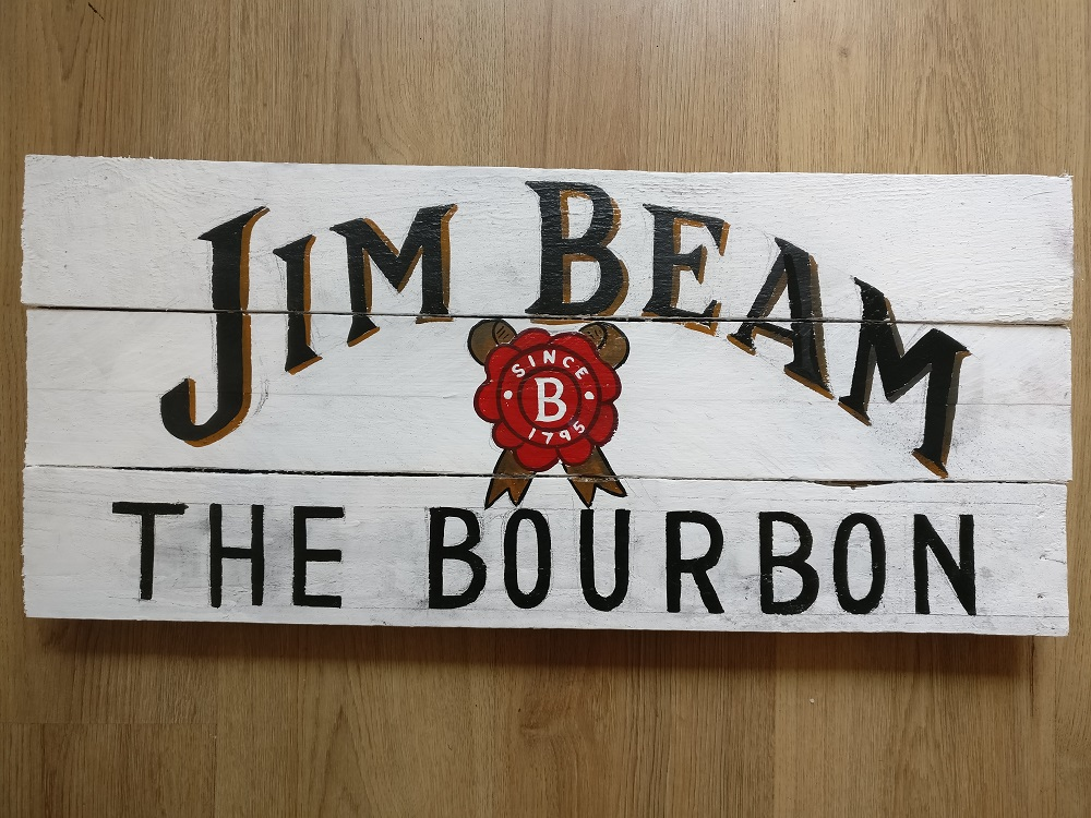 Jim Beam - fully painted. This was all done with sign writing enamels.