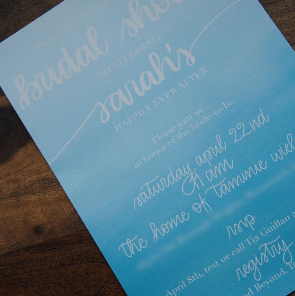 Watercolor bridal shower invitation.