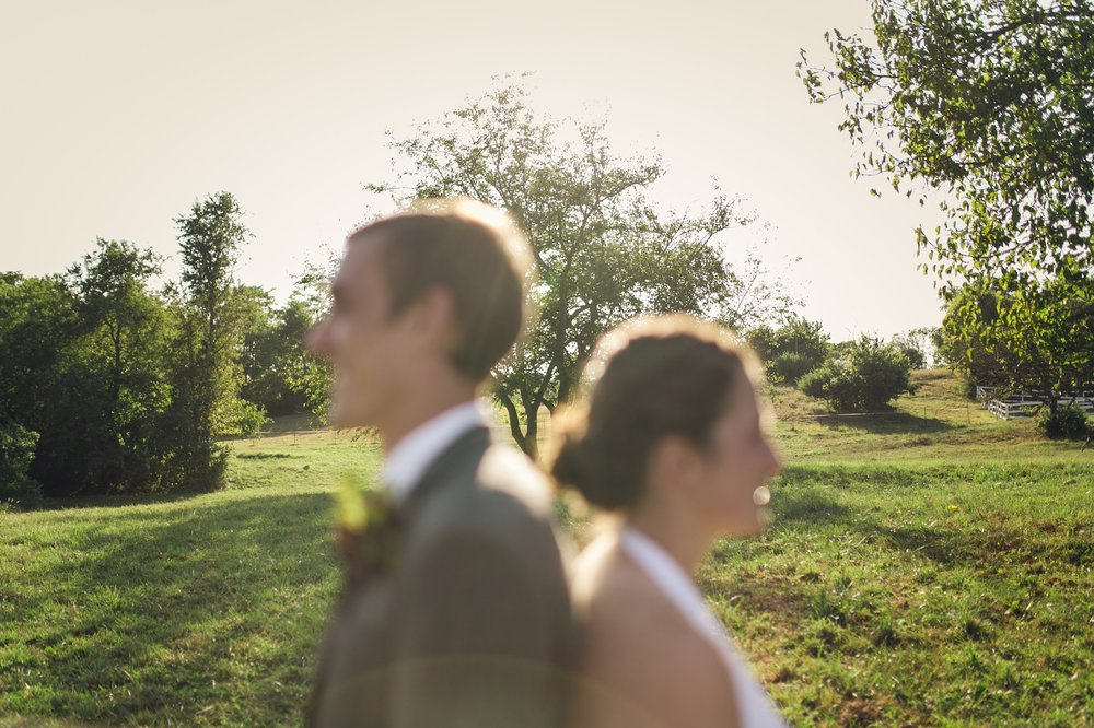 Beautiful, unique wedding photography at sunset on a farm in Western Maryland.