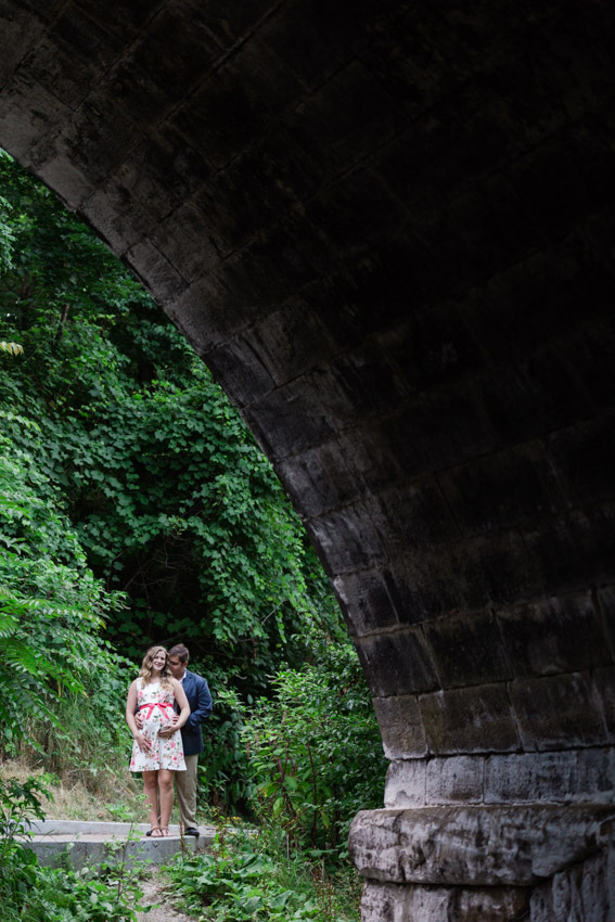 Romantic Park Bridge Engagement