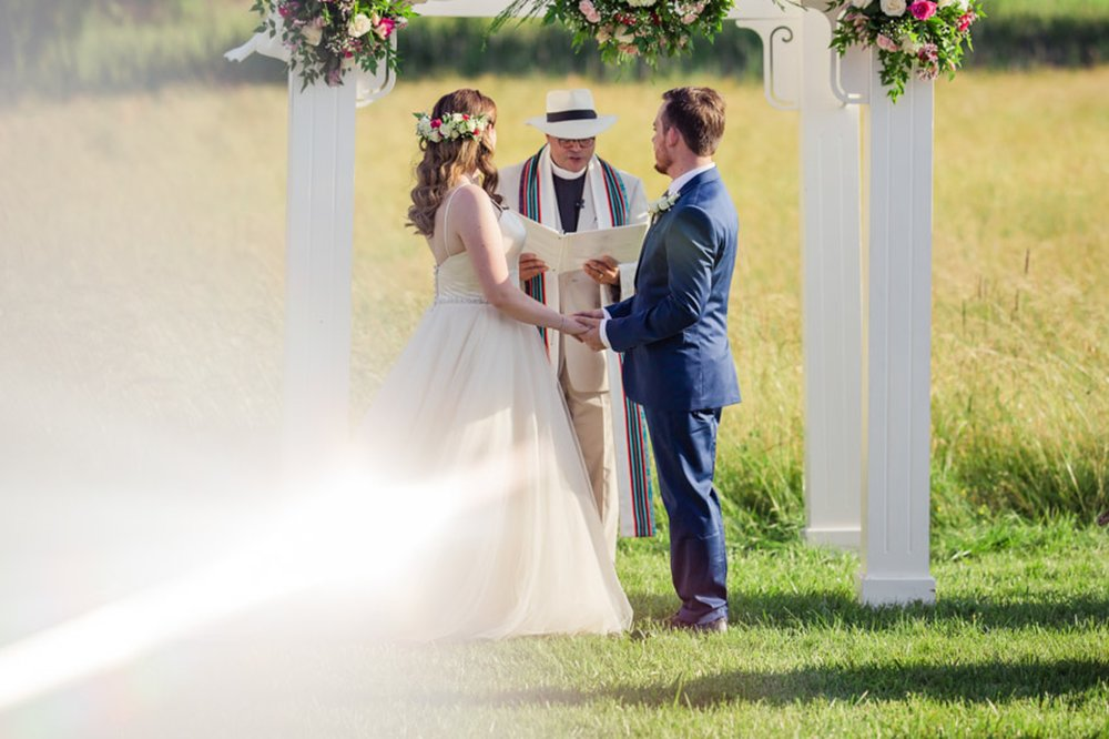 Wedding Ceremony Sun Flare