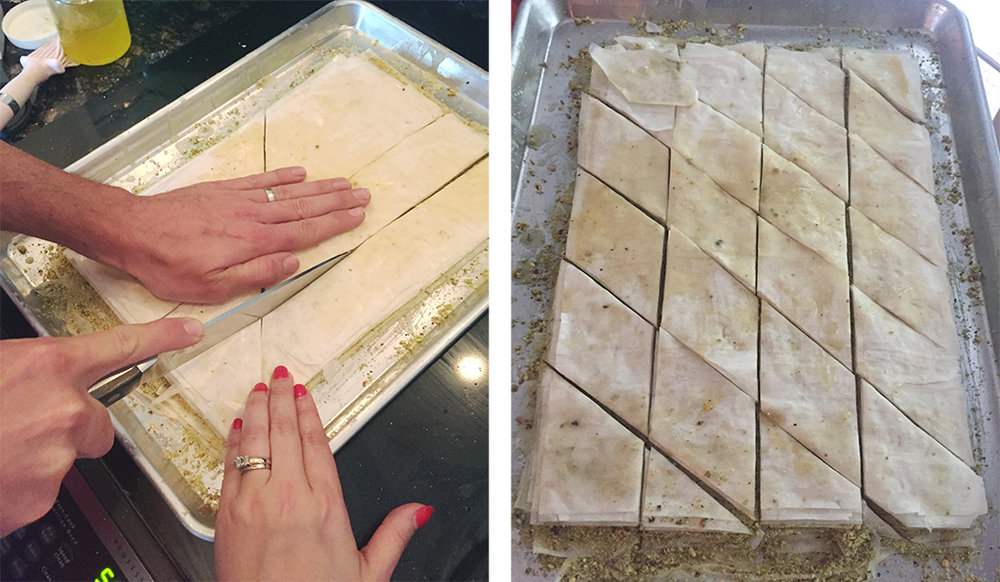 cutting the baklava