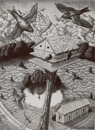 "<i>The Martins</i>, lithograph, 15 1/2"" x 11 1/2"""