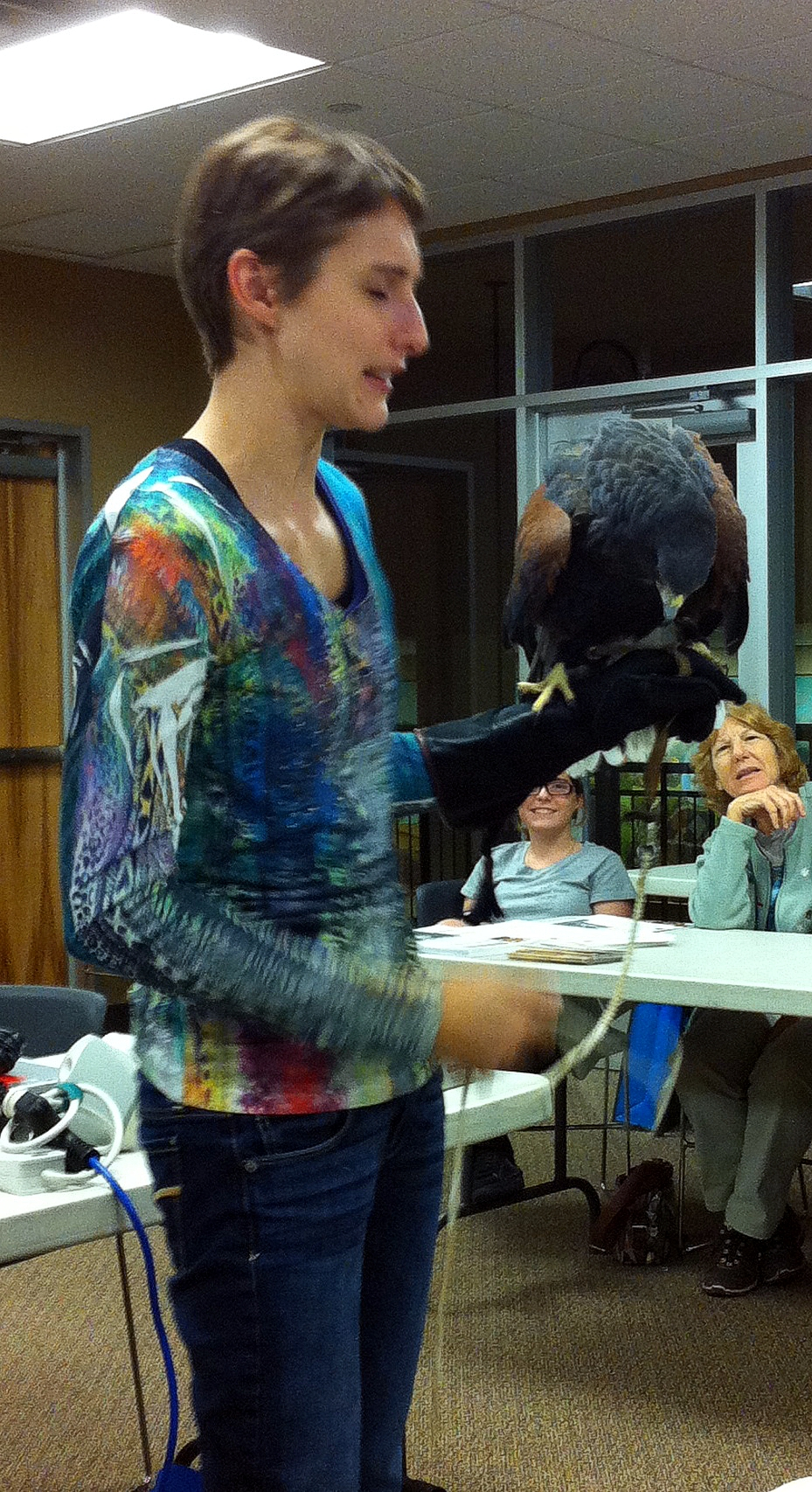 Rehabilitator Stephanie Boyd with hawk