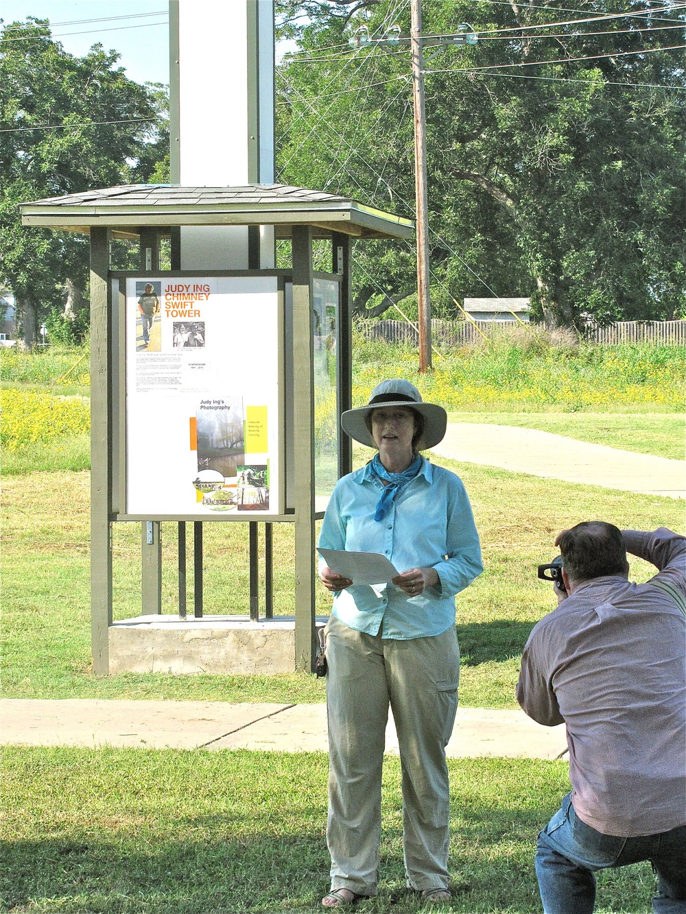 Official opening of Judy Ing Memorial Chimney Swift Tower, Bastrop's Bob Bryant Park