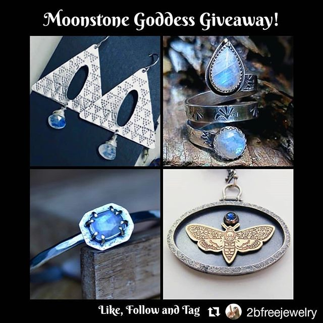 💫Check this out💫 👇👇👇👇👇👇👇 Moonstone Goddess LOOP Giveaway! 🌙 Four chances to win so there will be FOUR winners!  Win earrings, a ring, a necklace or a cuff all adorned with our coveted moonstone.  Each piece is handcrafted and the four of us just want to say THANK YOU to each and every person who has supported us in our journey.  TO ENTER: STEP☝- FOLLOW all 4 accounts @elmharris , @blueskyblackbird , @2bfreejewelry and @caro_designs . STEP ✌- TAG THREE (3) REAL friends/family (no celebs) in the comments below and also comment what item you want (ring, necklace, earrings or cuff)! YOU CAN ENTER ON EACH ACCOUNT BUT IT HAS TO BE NEW TAGGED FRIENDS- this will get you extra entries! . STEP ☝✌- TO get extra entries, REPOST this image, tag all 4 accounts and include the hashtag #moonstonegoddessgiveaway . Giveaway ends Sunday and midnight!  Good luck to everyone! . . .. .... ..... ...... #Giveway #jewelrygiveaway #jewelrygram #moonstone #moonstonejewelry #handmadejewelry #makersgonnamake #supporthandmade #statementjewelry #silverjewelry #earrings #ring #cuff #necklace #artisanjewelry #metalsmith #gemstone #bohojewelry #gemstonejewelry #riojeweler #loopgiveaway #instajewelry #ladysmith #healingjewelry #silversmith #jewelry #jewelryaddict #gypsysoul